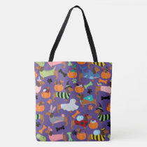 Adorable Halloween Dachshunds In Costumes Tote Bag