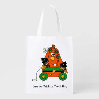 Adorable Halloween Fairy Witches and Pumpkin Cart Grocery Bag