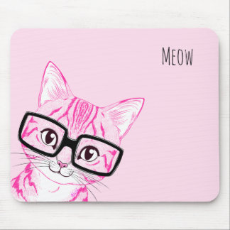 Adorable Hand Drawn Nerdy Cat Art Pink Mouse Pad