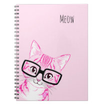 Adorable Hand Drawn Nerdy Cat Art Pink Note Book