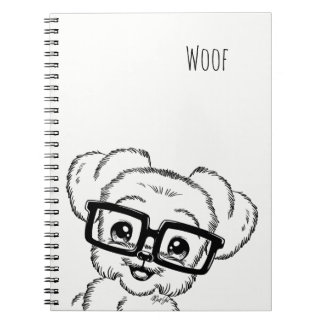 Adorable Hand Drawn Nerdy Dog Art Note Book