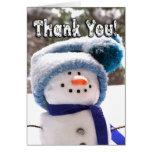 Adorable Handmade Snowman Thank You Card