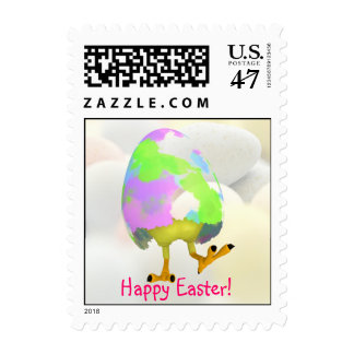 Adorable Happy Easter Newly Hatched Chick Postage