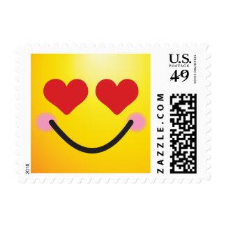 Adorable heart for eyes blushing emoji postage