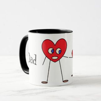Adorable Heart Stick Figures Personalized Dad Mug