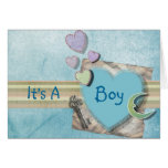 Adorable Hearts Boy Baby Shower Stationery Greeting Cards