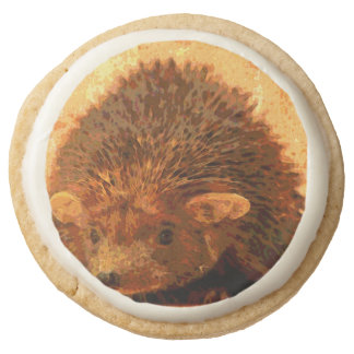 adorable hedgehog round premium shortbread cookie