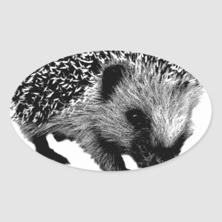Adorable Hedgehog. Wildlife Digital Engraving Sticker
