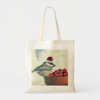 Adorable Holiday Chickadee Tote Bag