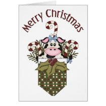 Adorable Holiday Christmas Cow Tees, GIfts Card