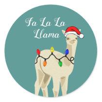 Adorable Holiday Fa La La Llama Classic Round Sticker