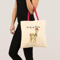 Adorable Holiday Fa La La Llama Tote Bag