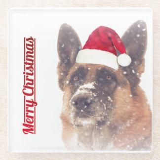 Adorable Holiday German Shepherd Glass Coaster