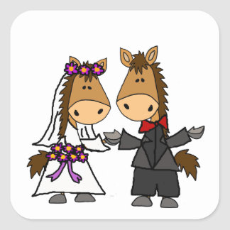Adorable Horse Bride and Groom Wedding Square Sticker