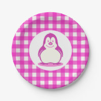 Adorable Hot Pink Gingham and Smiling Pink Penguin. Paper Plates  sc 1 st  Zazzle & Pink Penguin Plates | Zazzle