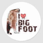 Adorable! I LOVE <3 BIGFOOT design Finding Bigfoot Classic Round Sticker