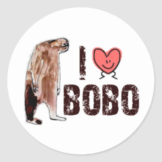 Adorable!  I LOVE <3 BOBO design - Finding Bigfoot Classic Round Sticker