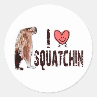 Adorable!  I LOVE <3 SQUATCHIN - Finding Bigfoot Classic Round Sticker
