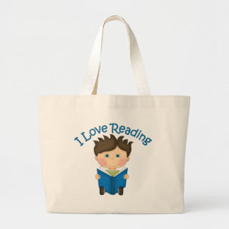 Adorable I LOVE READING Little Boy Reading Tees Large Tote Bag