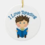Adorable I LOVE READING Little Boy Reading Tees Christmas Ornament