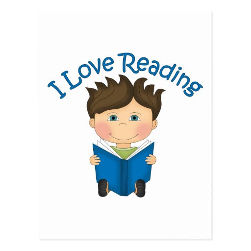 Adorable I LOVE READING Little Boy Reading Tees Postcard