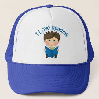 Adorable I LOVE READING Little Boy Reading Tees Trucker Hat