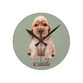 Adorable iCuddle Cocker Spaniel Round Clock