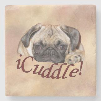 Adorable iCuddle Pug Puppy Stone Beverage Coaster
