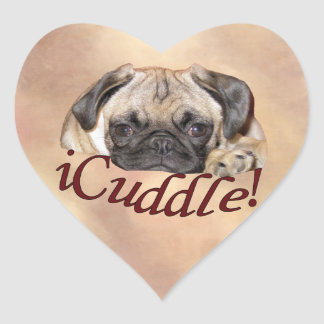 Adorable iCuddle Pug Puppy Heart Sticker