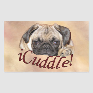 Adorable iCuddle Pug Puppy Rectangular Sticker