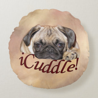 Adorable iCuddle Pug Puppy Round Pillow