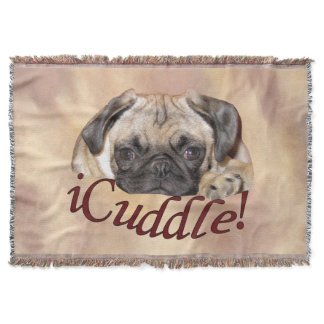 Adorable iCuddle Pug Puppy Throw