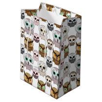 Adorable Illustrated Owls Pattern Medium Gift Bag