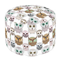 Adorable Illustrated Owls Pattern Pouf