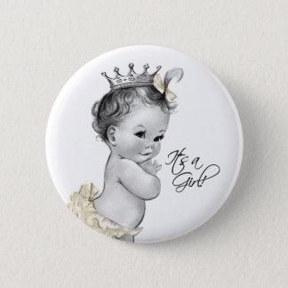 Adorable Ivory Princess Its a Girl Button
