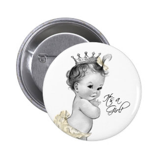 Adorable Ivory Princess Its a Girl Button