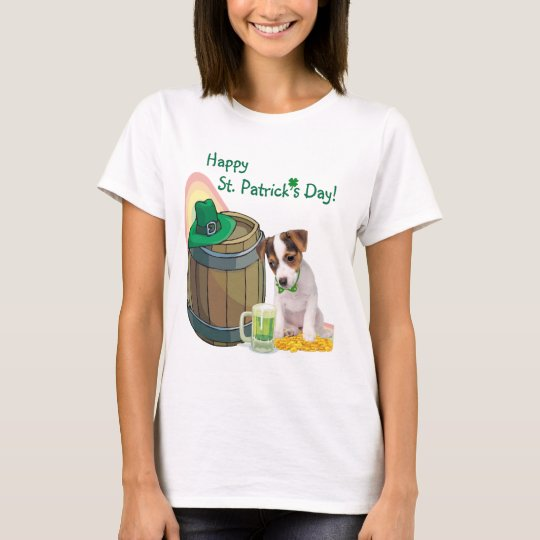 Adorable Jack Russell Puppy St Patrick's Day T-Shirt