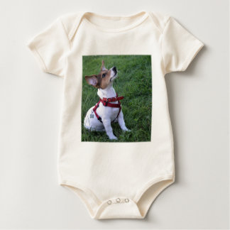 adorable jack russell terrier  puppy obedient dog baby bodysuit