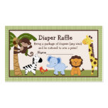 Adorable Jungle Buddies Diaper Raffle Tickets Business Cards