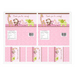 """Adorable """"Jungle Girl"""" Candy Bar Labels 2 sizes 8.5"""" X 11"""" Flyer"""