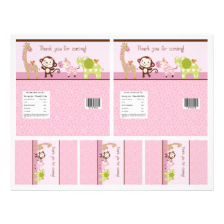 """Adorable """"Jungle Girl"""" Candy Bar Labels 2 sizes Flyer"""