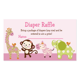Adorable Jungle Jill Animals Diaper Raffle Tickets Double-Sided Standard Business Cards (Pack Of 100)