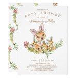 Adorable Kangaroo Mom & Babies Triplet Baby Shower Invitation