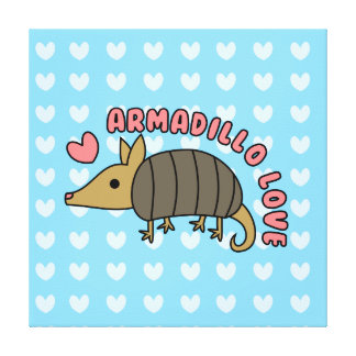 Adorable Kawaii Armadillo Stretched Canvas Print