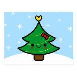 Adorable Kawaii Cartoon Christmas Tree Postcard