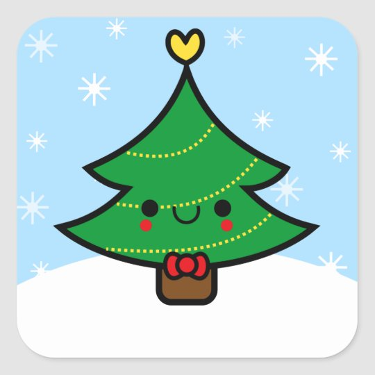 Kawaii Cartoon Christmas Tree Sticker