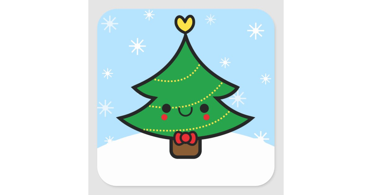 adorable kawaii cartoon christmas tree sticker zazzle com usd