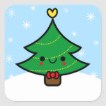 Adorable Kawaii Cartoon Christmas Tree Sticker