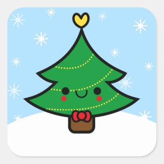 Kawaii Christmas Tree Stickers | Zazzle