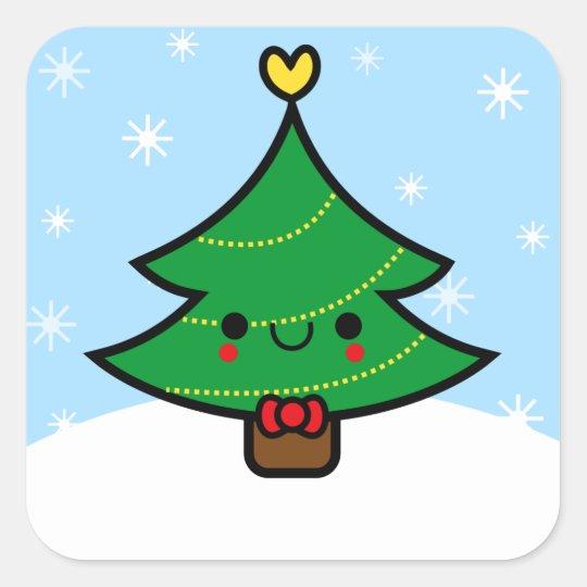 Adorable Kawaii Cartoon Christmas Tree Sticker | Zazzle.com